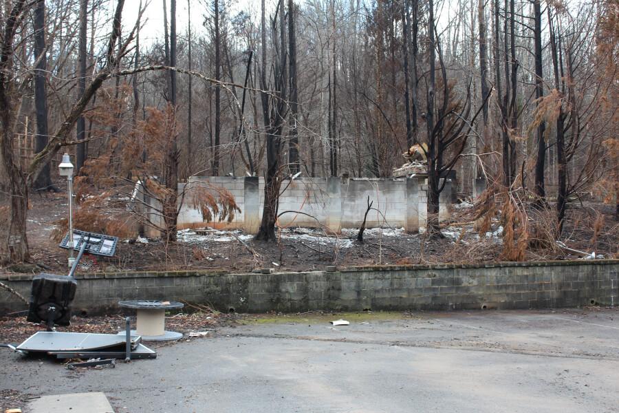 Building damage behind church