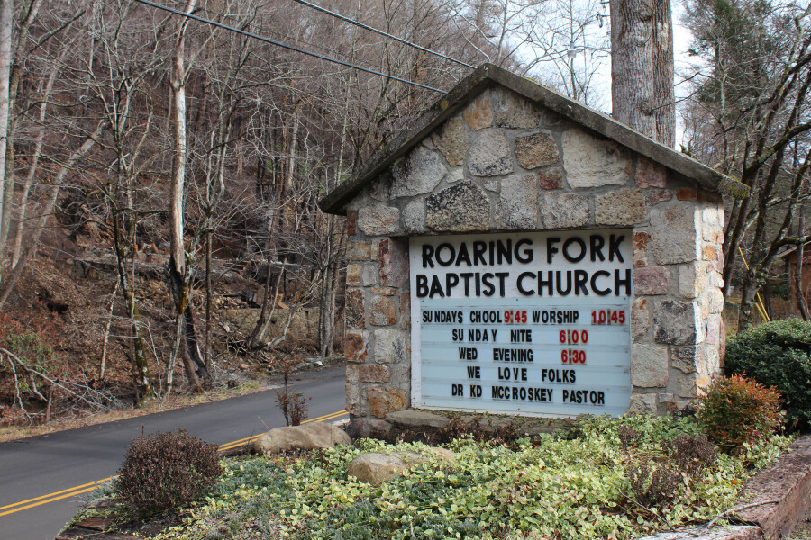 Sign for the church