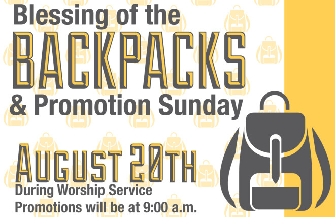 Blessing of the Backpacks & Promotion Sunday