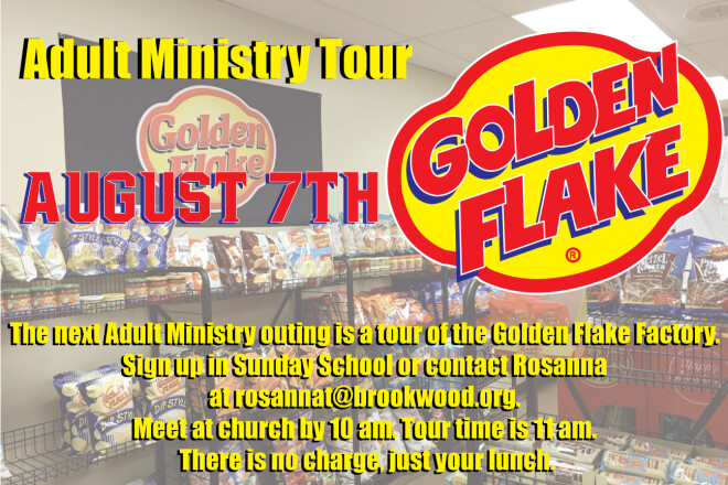 Adult Ministry tour of the Golden Flake Factory